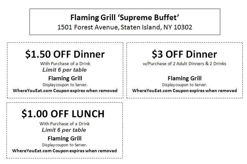 photo about Hibachi Grill Supreme Buffet Coupons Printable named Flaming Grill Discount coupons